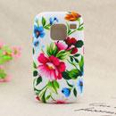 Coque Nokia E5 Fleurs Silicone Housse Gel - Verte