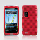 Coque Nokia E7 Filet Plastique Etui Rigide - Rouge