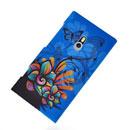 Coque Nokia Lumia 800 Fleurs Silicone Housse Gel - Bleu