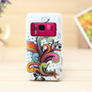 Coque Nokia N8 Fleurs Silicone Housse Gel - Blanche