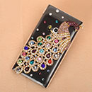 Coque Nokia N9 Luxe Paon Diamant Bling Etui Rigide - Brown