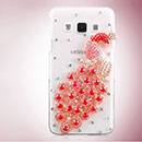 Coque Samsung Galaxy A3 Luxe Paon Diamant Bling Etui Rigide - Rouge