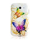 Coque Samsung Galaxy Grand Duos i9080 i9082 Papillon Diamant Bling Etui Rigide - Pourpre
