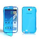 Coque Samsung Galaxy Note 2 N7100 Flip Silicone Gel Housse - Bleu