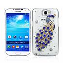 Coque Samsung Galaxy Note 2 N7100 Luxe Paon Diamant Bling Etui Rigide - Bleu