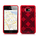 Coque Samsung Galaxy S2 Plus i9105 Grid Gel Silicone Housse - Rouge
