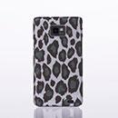 Coque Samsung Galaxy S2 Plus i9105 Leopard Etui Rigide Cover - Gris