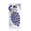 Coque Samsung Galaxy S2 Plus i9105 Luxe Paon Diamant Bling Housse Rigide - Bleu