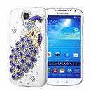 Coque Samsung Galaxy S4 i9500 i9505 Luxe Paon Diamant Bling Etui Rigide - Bleu
