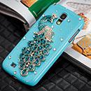 Coque Samsung Galaxy S4 i9500 i9505 Luxe Paon Diamant Bling Etui Rigide - Bleue Ciel