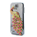 Coque Samsung Galaxy S4 i9500 i9505 Luxe Paon Diamant Bling Etui Rigide - Rose Chaud