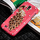 Coque Samsung Galaxy S4 i9500 i9505 Luxe Paon Diamant Bling Etui Rigide - Rouge