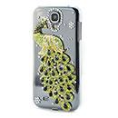 Coque Samsung Galaxy S4 i9500 i9505 Luxe Paon Diamant Bling Etui Rigide - Verte