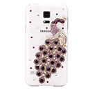 Coque Samsung Galaxy S5 i9600 Luxe Paon Diamant Bling Etui Rigide - Pourpre