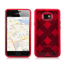 Coque Samsung i9100 Galaxy S2 Grid Gel Silicone Housse - Rouge