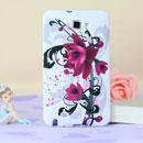 Coque Samsung i9220 Galaxy Note Fleurs Silicone Housse Gel - Pourpre