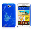Coque Samsung i9220 Galaxy Note Papillon Plastique Etui Rigide - Bleu