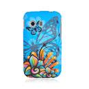 Coque Samsung S5360 Galaxy Y Papillon Silicone Housse Gel - Bleu