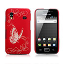 Coque Samsung S5839i Galaxy Ace Papillon Plastique Etui Rigide - Rouge