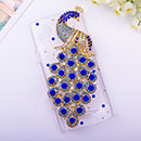 Coque Samsung S8530 Wave II Luxe Paon Diamant Bling Etui Rigide - Bleu