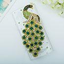 Coque Samsung S8530 Wave II Luxe Paon Diamant Bling Etui Rigide - Verte