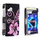 Coque Sony Ericsson Mini X10 Fleurs Diamant Bling Etui Rigide - Noire