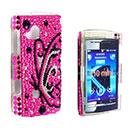 Coque Sony Ericsson Mini X10 Papillon Diamant Bling Etui Rigide - Rose Chaud