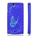 Coque Sony Ericsson Xperia Arc S LT18i Papillon Plastique Etui Rigide - Bleu