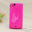 Coque Sony Ericsson Xperia Arc S LT18i Papillon Plastique Etui Rigide - Rose Chaud