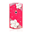 Coque Sony Ericsson Xperia Kyno V Luxe Fleurs Diamant Bling Etui Rigide - Rouge