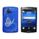 Coque Sony Ericsson Xperia Mini ST15i Papillon Plastique Etui Rigide - Bleu