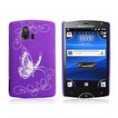Coque Sony Ericsson Xperia Mini ST15i Papillon Plastique Etui Rigide - Pourpre
