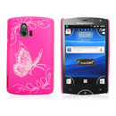 Coque Sony Ericsson Xperia Mini ST15i Papillon Plastique Etui Rigide - Rose Chaud
