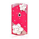 Coque Sony Ericsson Xperia Neo MT15i MT11i Luxe Fleurs Diamant Bling Etui Rigide - Rouge