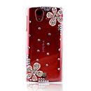 Coque Sony Ericsson Xperia ray ST18i Luxe Fleurs Diamant Bling Etui Rigide - Blanche