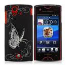 Coque Sony Ericsson Xperia ray ST18i Papillon Plastique Etui Rigide - Noire