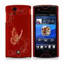 Coque Sony Ericsson Xperia ray ST18i Papillon Plastique Etui Rigide - Rouge