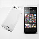 Coque Sony Xperia J ST26i S-Line Silicone Gel Housse - Blanche