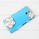 Coque Sony Xperia P LT22i Luxe Fleurs Diamant Bling Etui Rigide - Bleu
