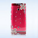 Coque Sony Xperia P LT22i Luxe Fleurs Diamant Bling Etui Rigide - Clear