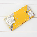 Coque Sony Xperia P LT22i Luxe Fleurs Diamant Bling Etui Rigide - Jaune