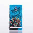 Coque Sony Xperia P LT22i Papillon Plastique Etui Rigide - Bleu