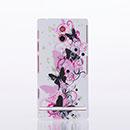 Coque Sony Xperia P LT22i Papillon Plastique Etui Rigide - Rose