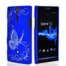 Coque Sony Xperia S LT26i Papillon Plastique Etui Rigide - Bleu