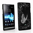 Coque Sony Xperia S LT26i Papillon Plastique Etui Rigide - Noire