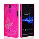 Coque Sony Xperia S LT26i Papillon Plastique Etui Rigide - Rose Chaud