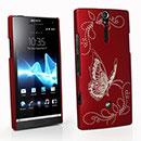 Coque Sony Xperia S LT26i Papillon Plastique Etui Rigide - Rouge