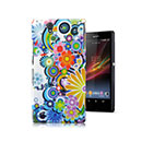 Coque Sony Xperia Z L36H Fleurs Plastique Etui Rigide - Verte
