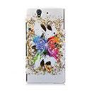 Coque Sony Xperia Z L36H Papillon Plastique Etui Rigide - Blanche
