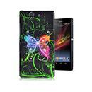 Coque Sony Xperia Z L36H Papillon Plastique Etui Rigide - Noire